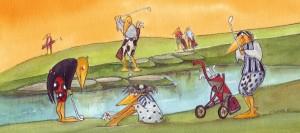 Schräge Vögel aif Landpartie: Die Golfer, gezeichnet von Petra Elsner